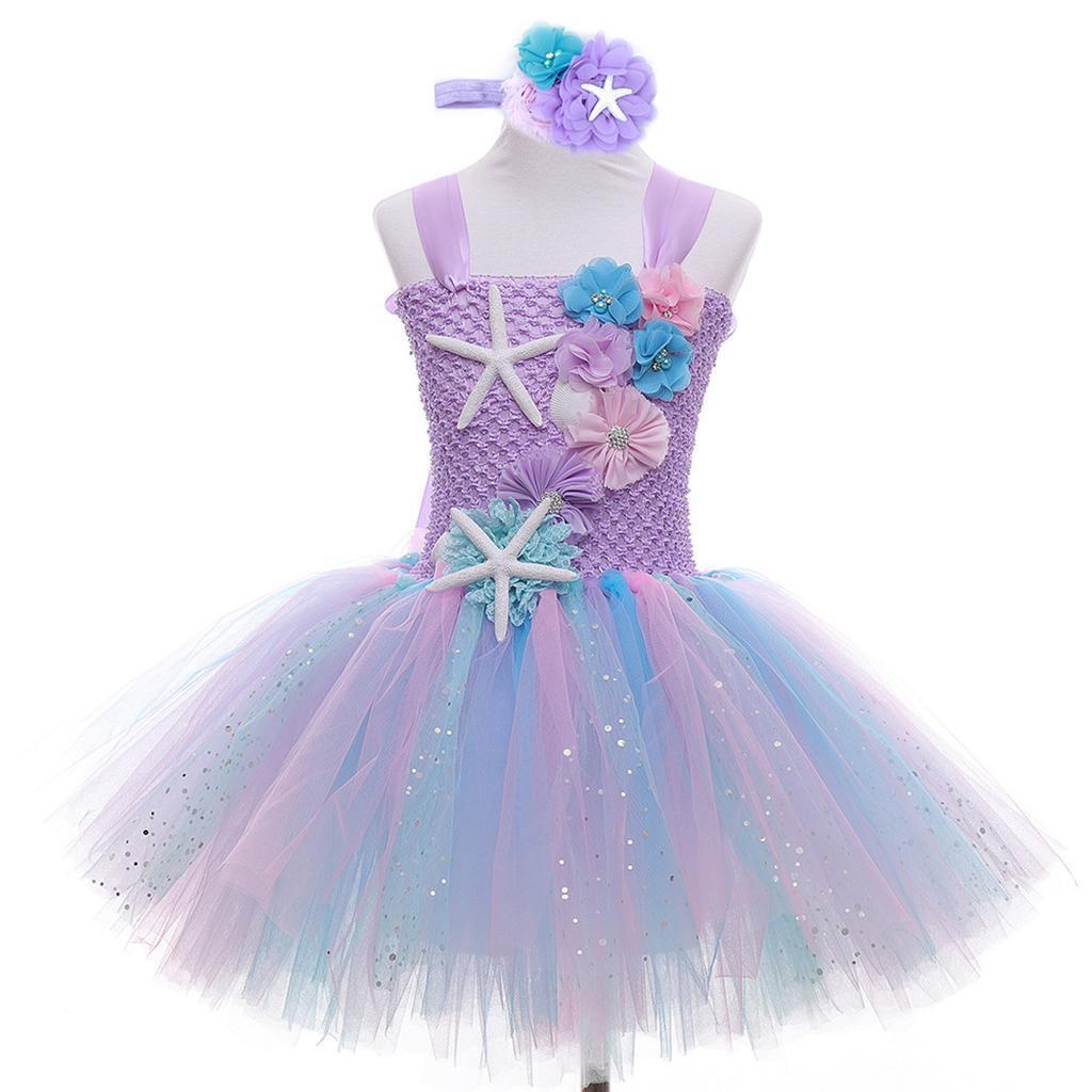 thumbnail 16 - Mermaid Tutu Dress Cosplay Kids Mermaid Costume 3 4 5 6 Years Old