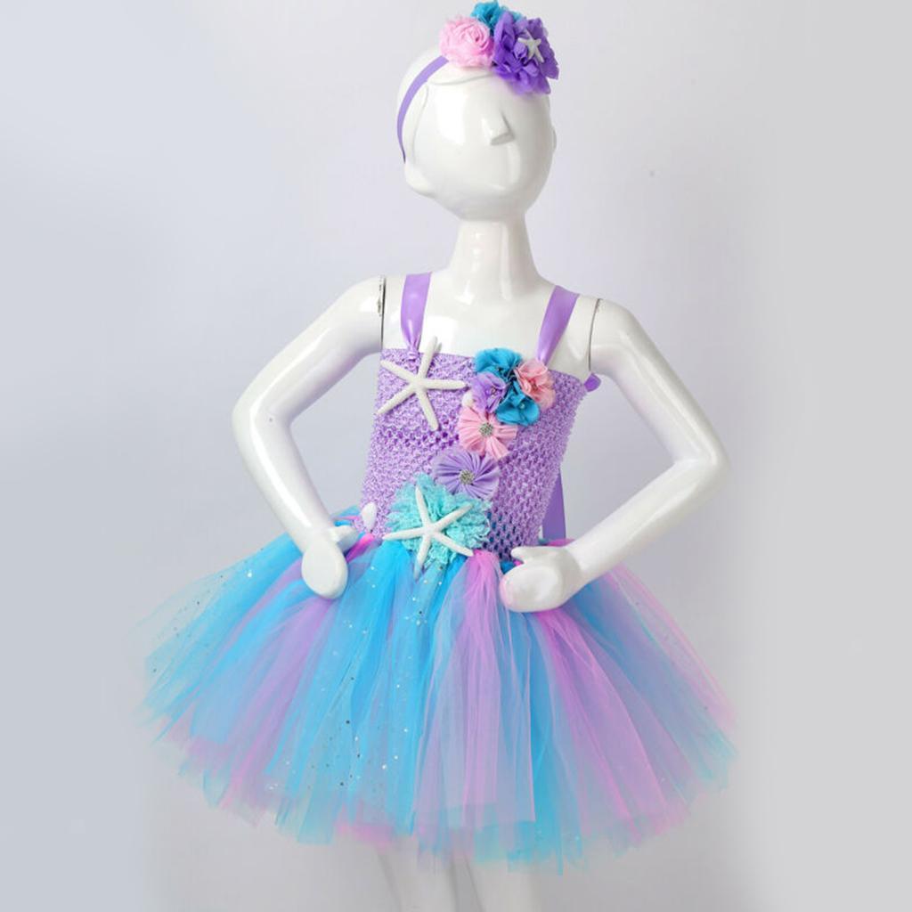 thumbnail 17 - Mermaid Tutu Dress Cosplay Kids Mermaid Costume 3 4 5 6 Years Old