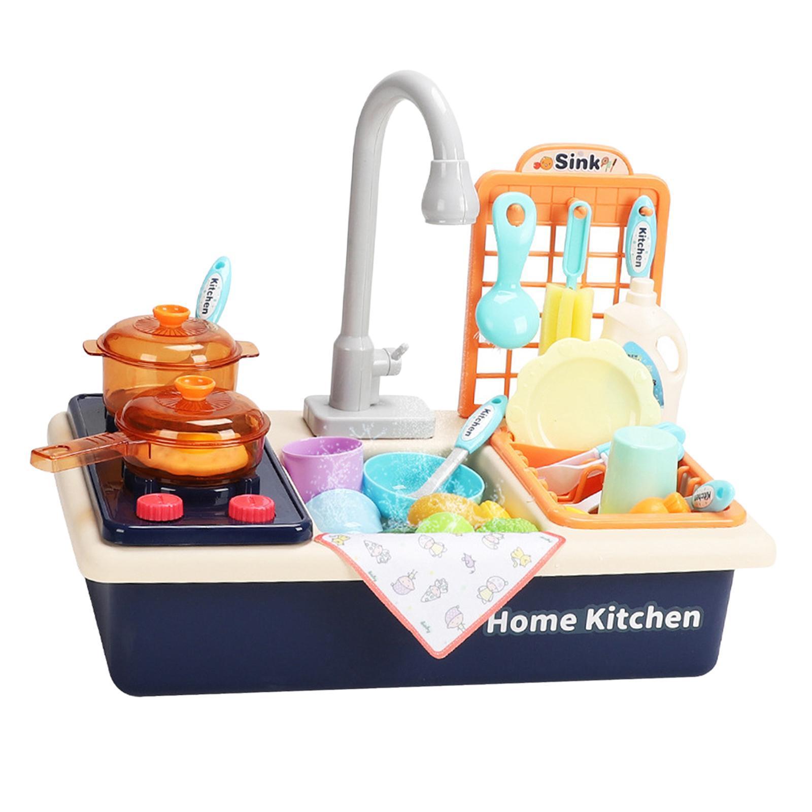 Indexbild 20 - Kinder-Kueche-Spielen-Waschbecken-Spielzeug-Automatische-Wasser-Zyklus-System