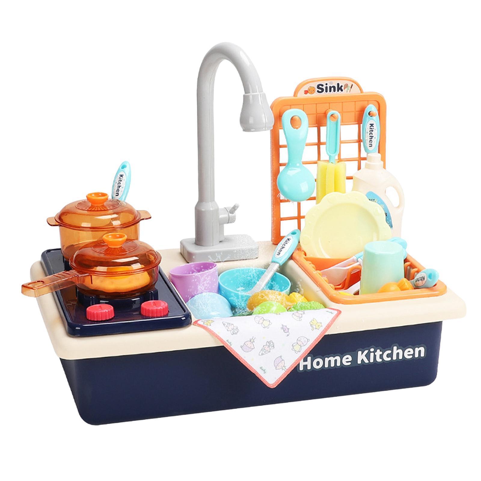 Indexbild 22 - Kinder-Kueche-Spielen-Waschbecken-Spielzeug-Automatische-Wasser-Zyklus-System