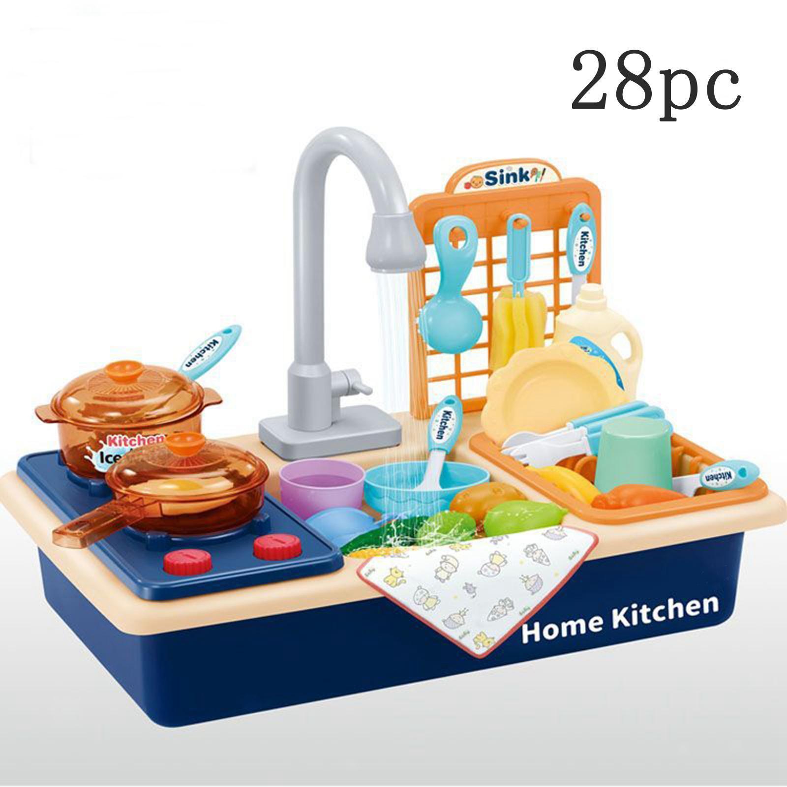 Indexbild 25 - Kinder-Kueche-Spielen-Waschbecken-Spielzeug-Automatische-Wasser-Zyklus-System