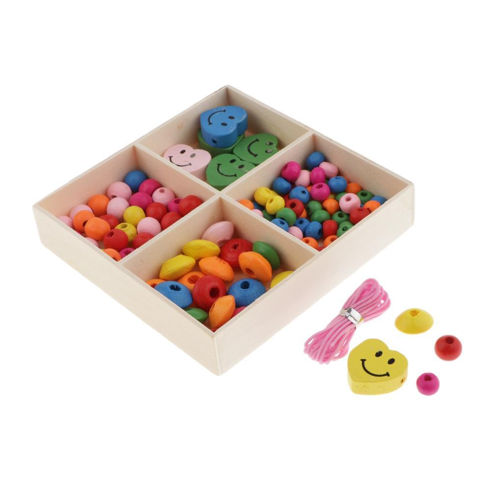Mixed-Colour-Round-Wooden-Beads-Spacer-Charms-Kids-Bracelets-Crafts-Beading miniature 9