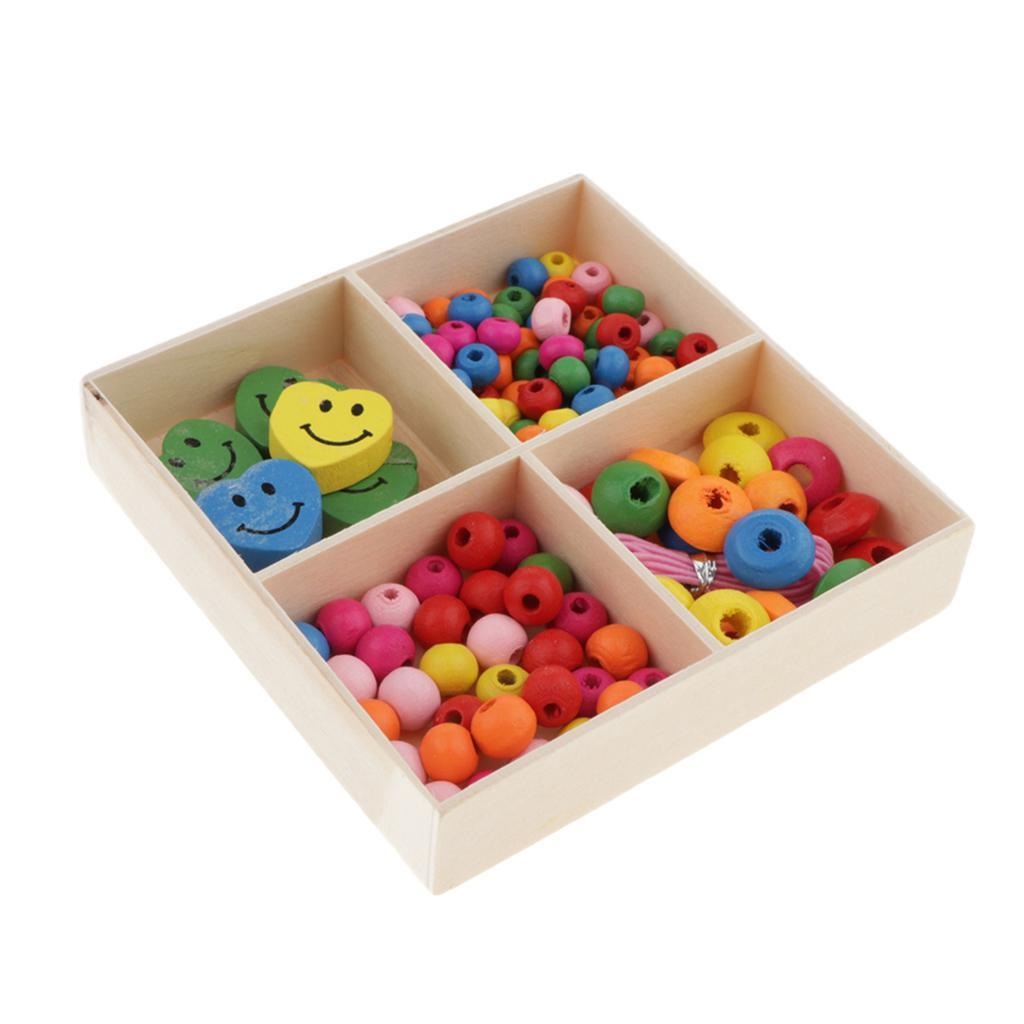 Mixed-Colour-Round-Wooden-Beads-Spacer-Charms-Kids-Bracelets-Crafts-Beading miniature 10