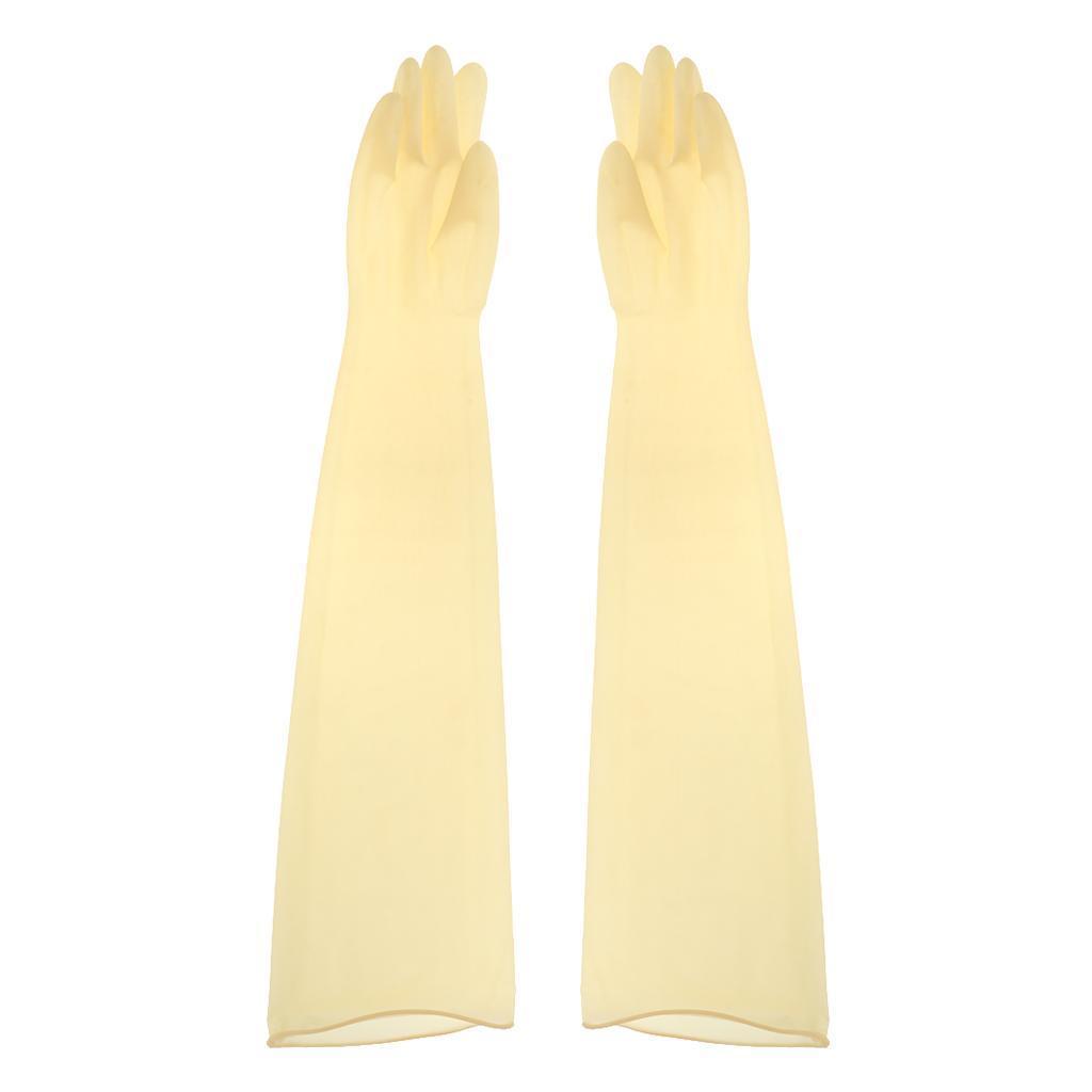 Indexbild 3 - 1-Paar-70cm-industrielle-Anti-Saeure-Alkali-Gummihandschuhe-gelb