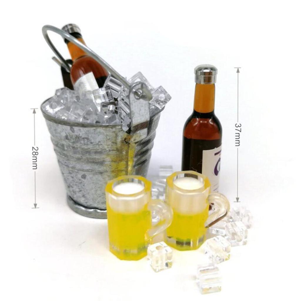 1:12 Miniature Wine Bottle+Cups+Ice Bucket Set Dollhouse Creative Toys