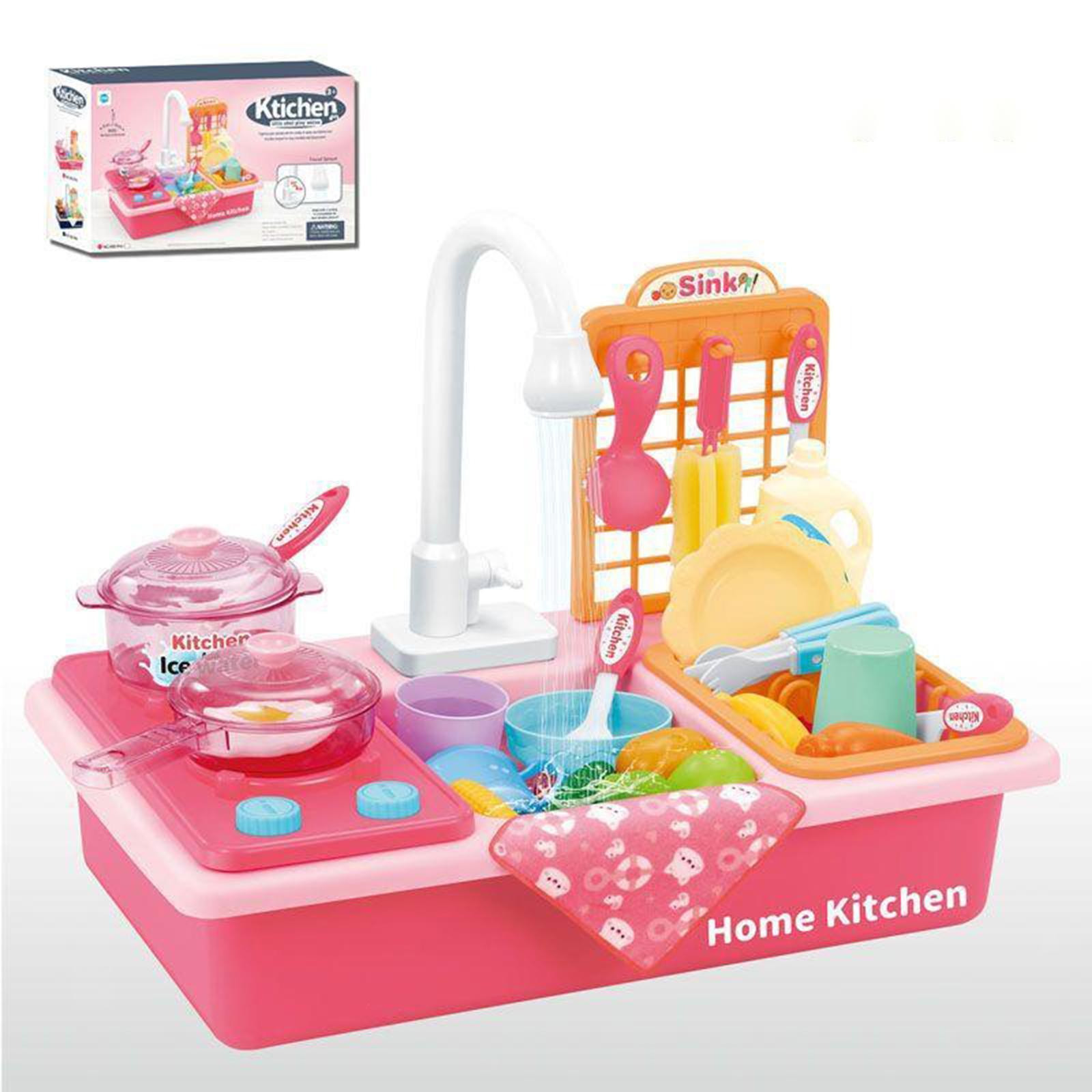 Indexbild 34 - Kinder-Kueche-Spielen-Waschbecken-Spielzeug-Automatische-Wasser-Zyklus-System