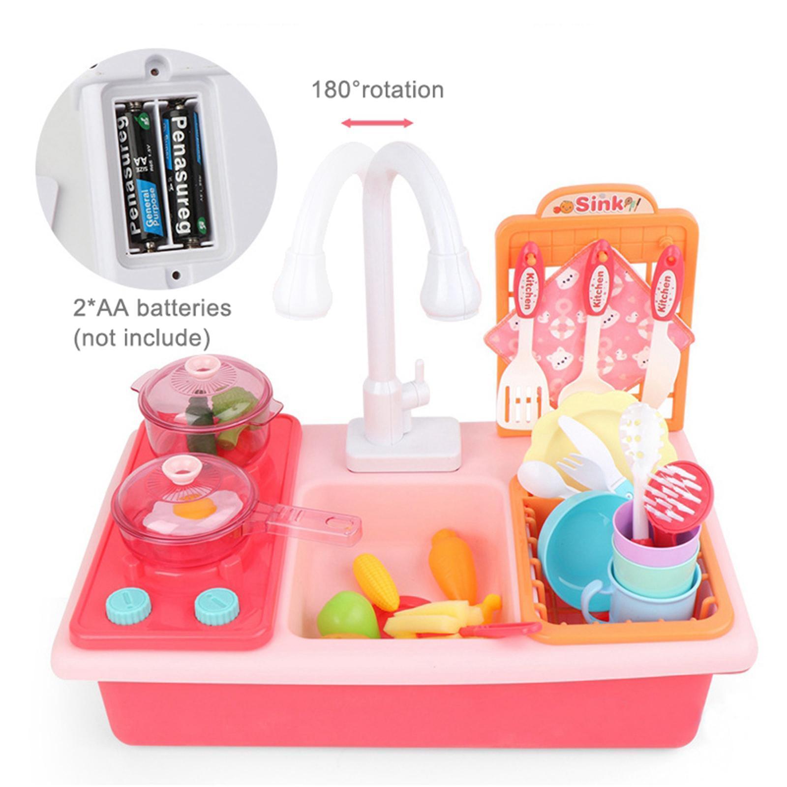 Indexbild 28 - Kinder-Kueche-Spielen-Waschbecken-Spielzeug-Automatische-Wasser-Zyklus-System