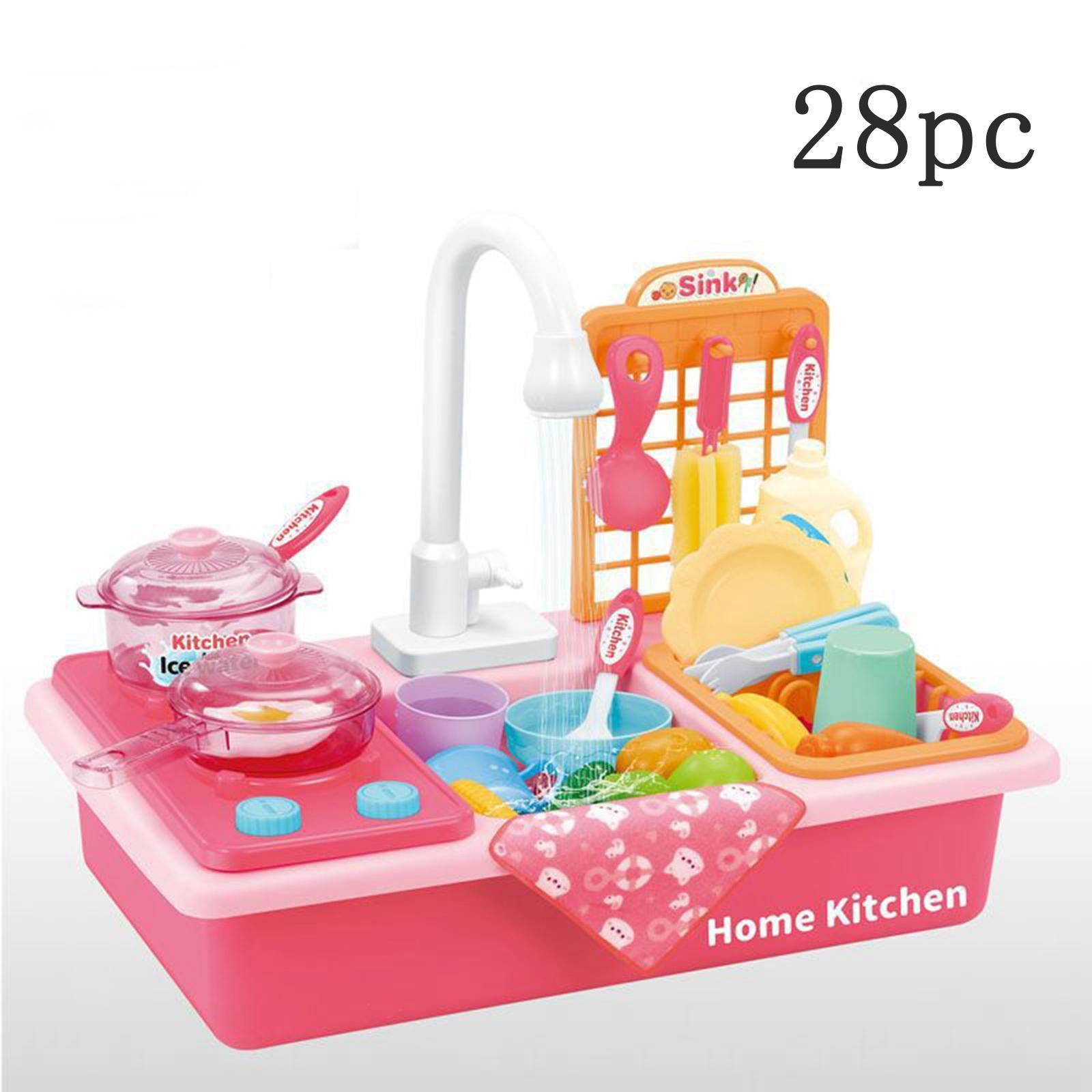 Indexbild 31 - Kinder-Kueche-Spielen-Waschbecken-Spielzeug-Automatische-Wasser-Zyklus-System