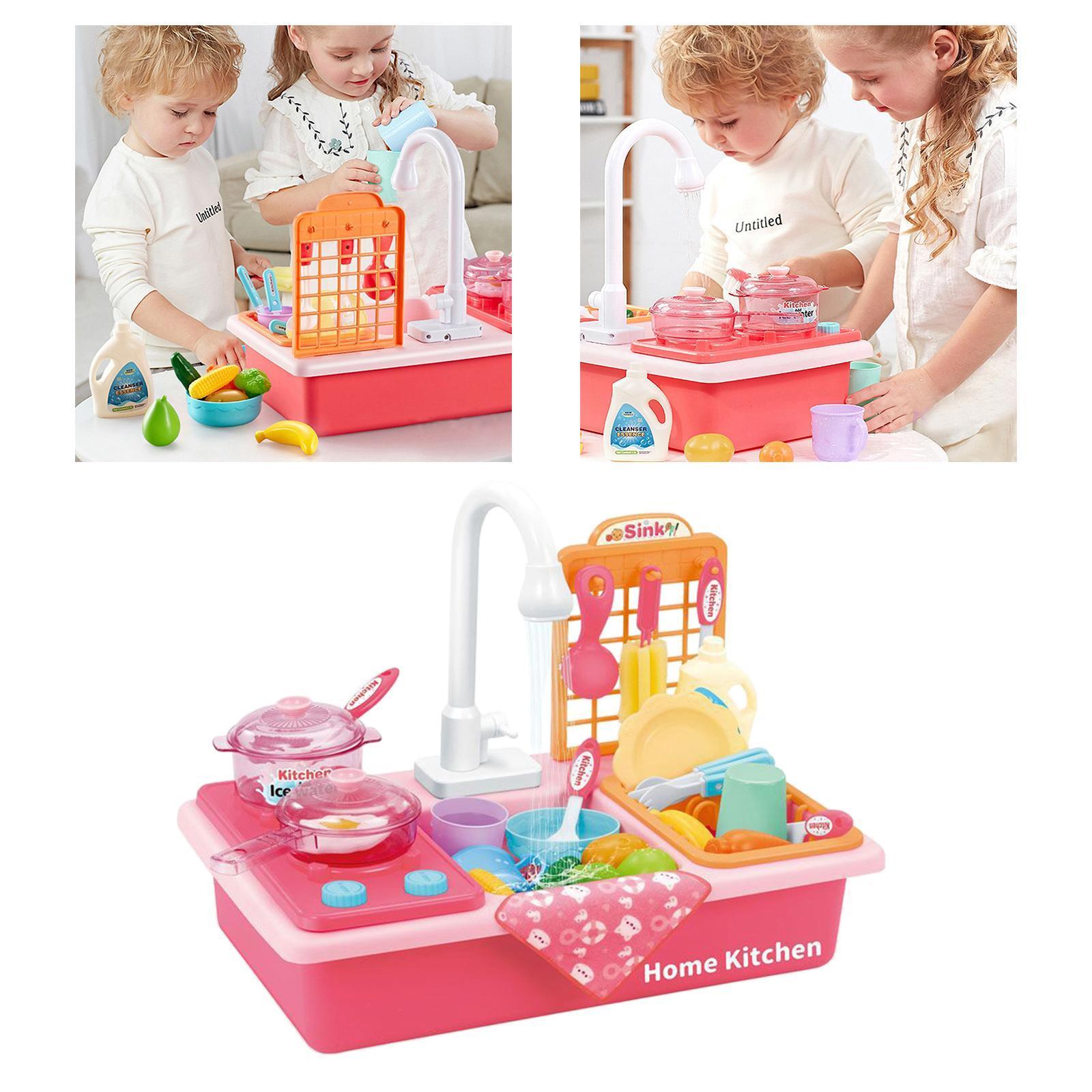 Indexbild 35 - Kinder-Kueche-Spielen-Waschbecken-Spielzeug-Automatische-Wasser-Zyklus-System
