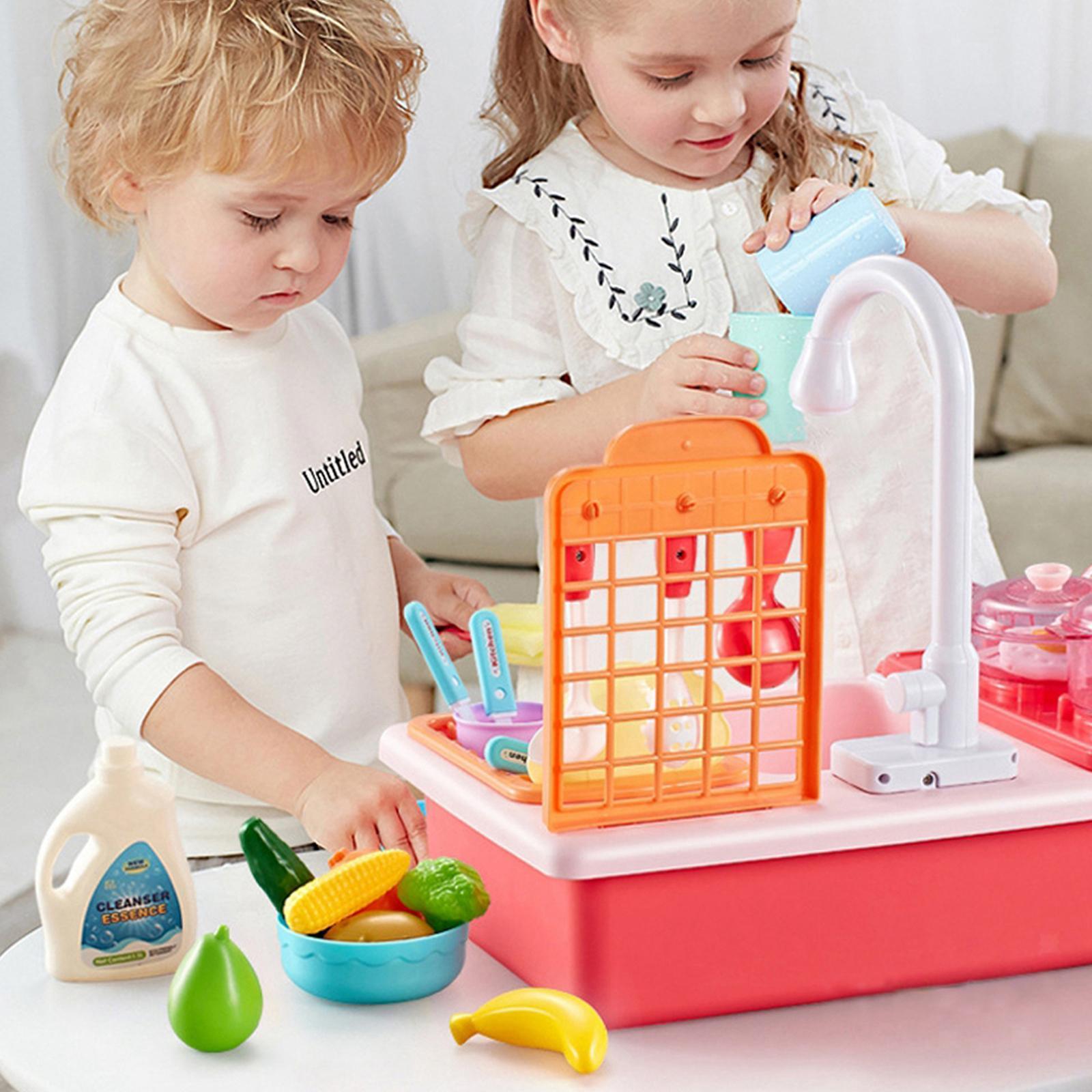 Indexbild 37 - Kinder-Kueche-Spielen-Waschbecken-Spielzeug-Automatische-Wasser-Zyklus-System