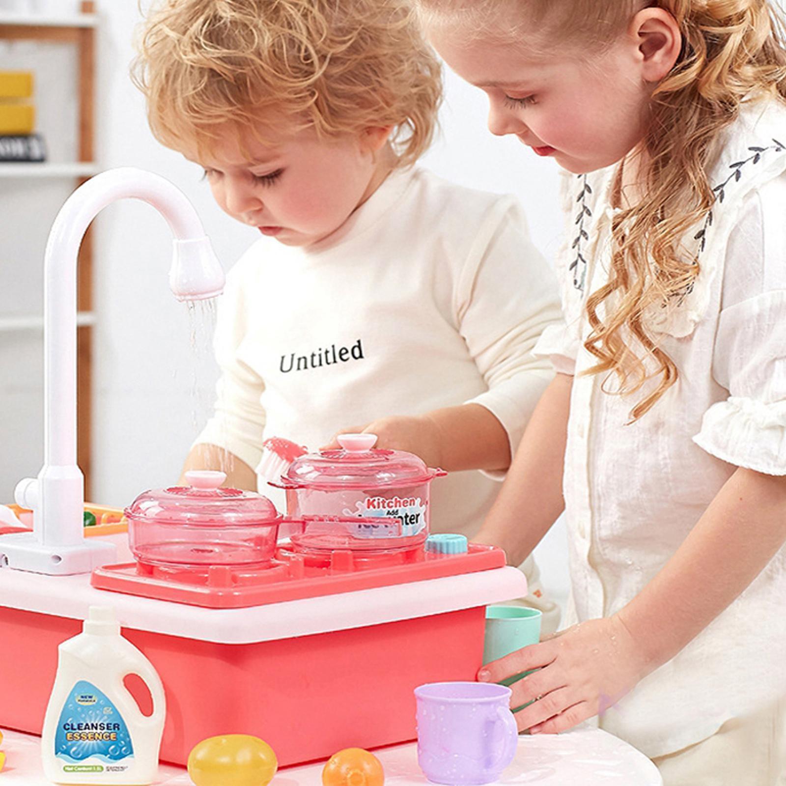 Indexbild 30 - Kinder-Kueche-Spielen-Waschbecken-Spielzeug-Automatische-Wasser-Zyklus-System