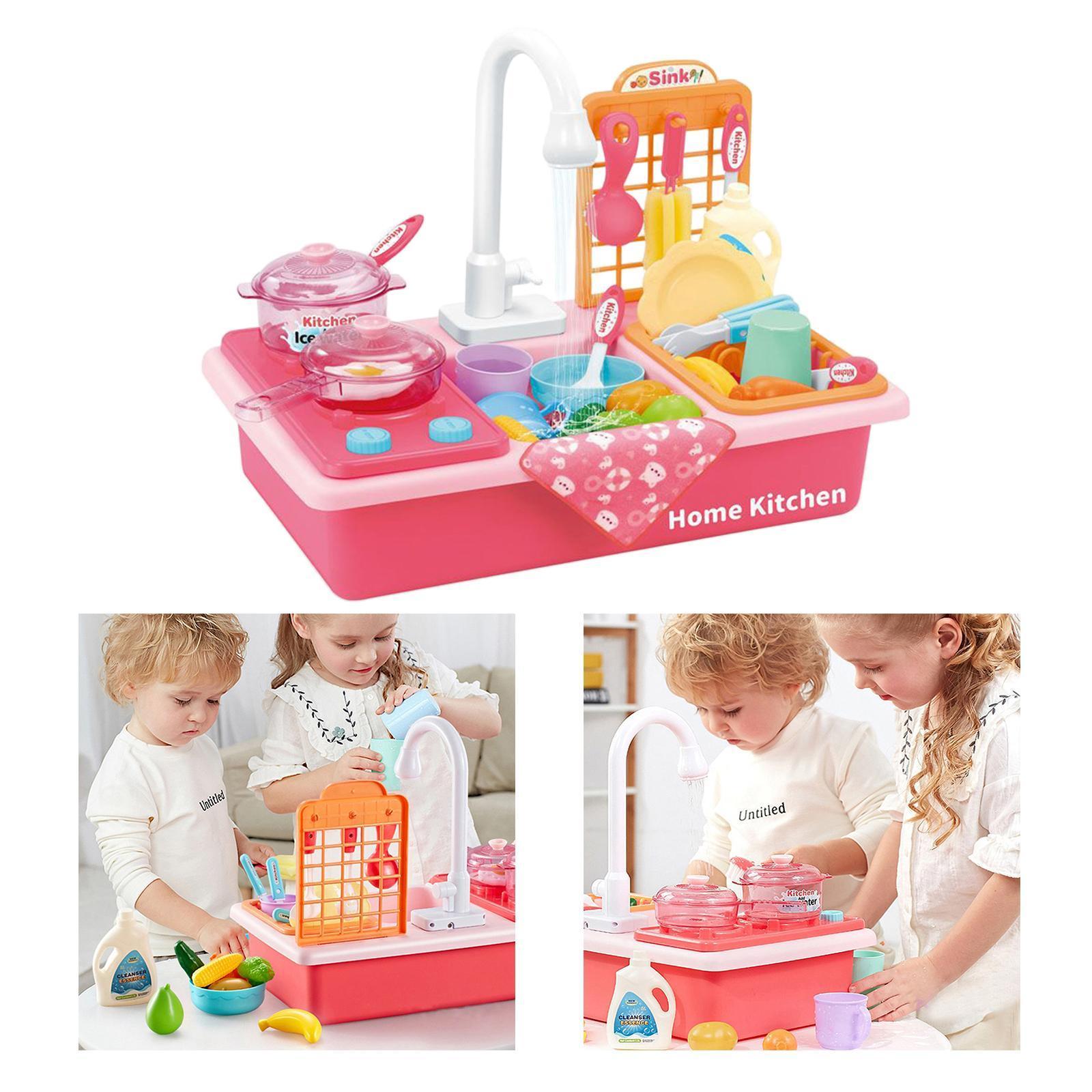 Indexbild 29 - Kinder-Kueche-Spielen-Waschbecken-Spielzeug-Automatische-Wasser-Zyklus-System