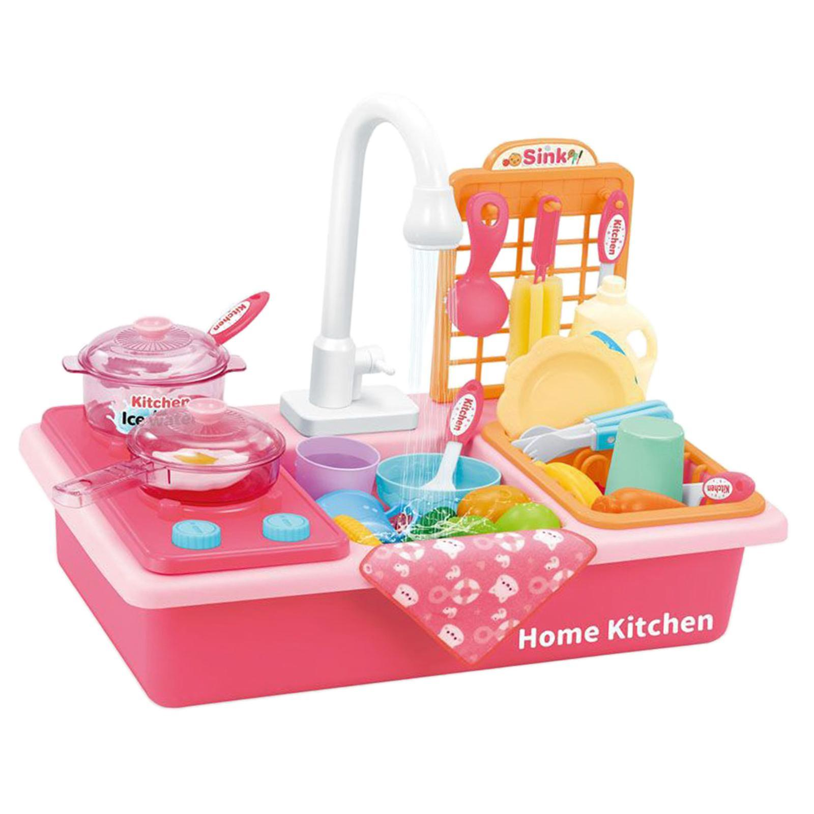 Indexbild 33 - Kinder-Kueche-Spielen-Waschbecken-Spielzeug-Automatische-Wasser-Zyklus-System