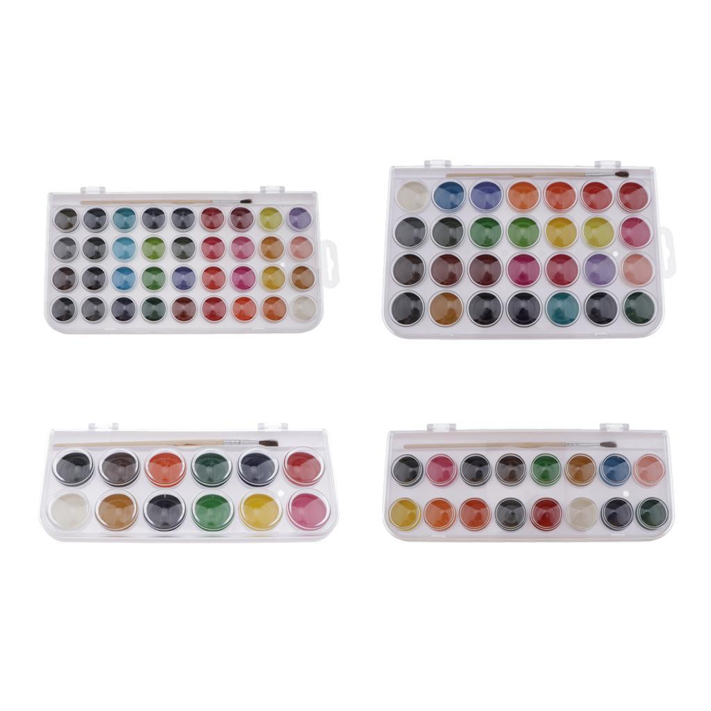 12-16-28-36-Colors-Solid-Watercolor-Paints-With-brush-For-Art-Crafts-Paint thumbnail 3