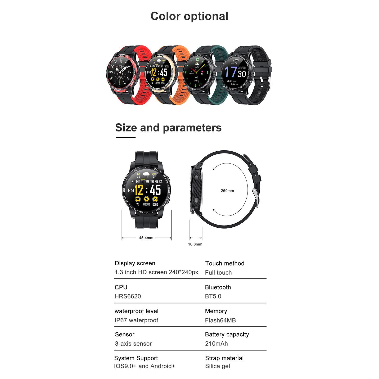 Hommes-Smart-Watch-Bluetooth-Call-Fitness-Tracker-frequence-cardiaque-sommeil miniature 12