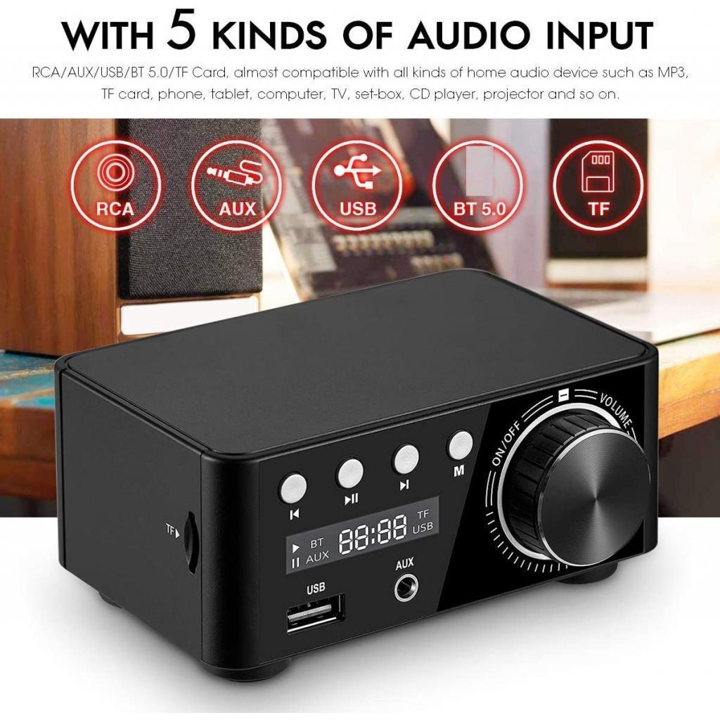 Indexbild 5 - Digitale-100W-Bluetooth-5-0-Power-Verstaerker-Hallo-fi-Stereo-2-0-Kanal-TF