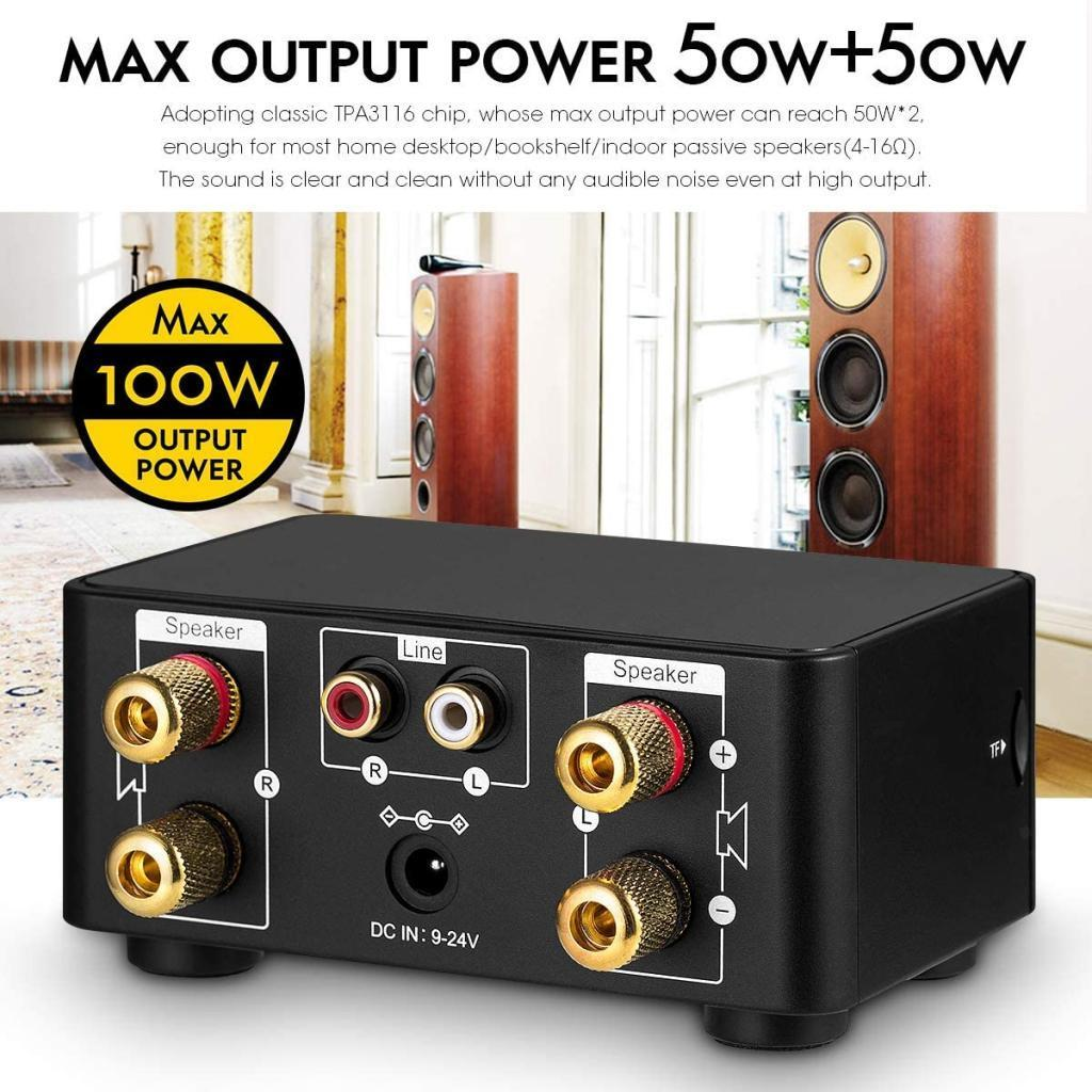 Indexbild 7 - Digitale-100W-Bluetooth-5-0-Power-Verstaerker-Hallo-fi-Stereo-2-0-Kanal-TF