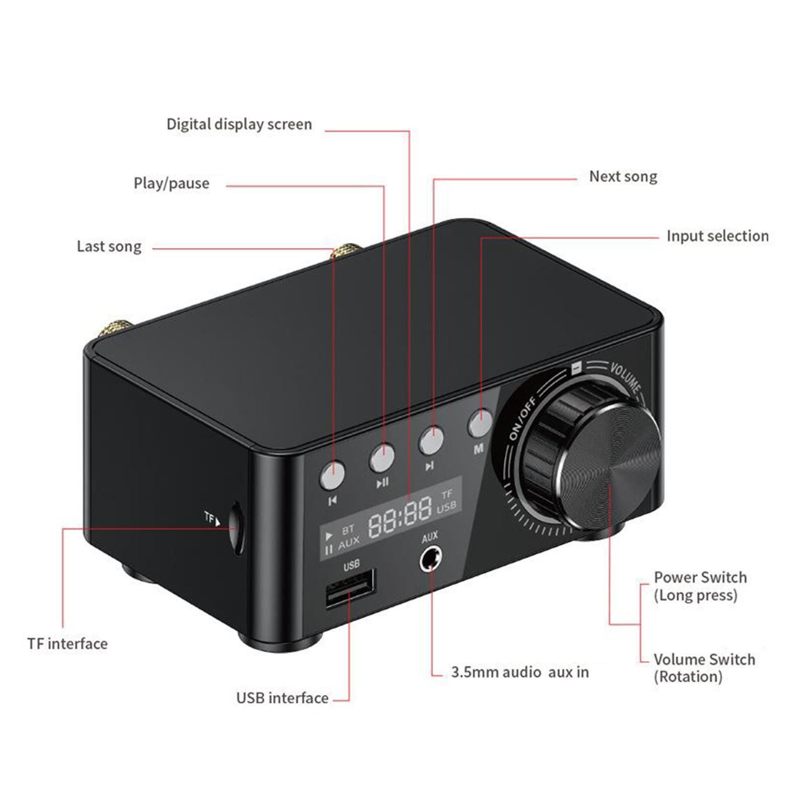 Indexbild 14 - Digitale-100W-Bluetooth-5-0-Power-Verstaerker-Hallo-fi-Stereo-2-0-Kanal-TF
