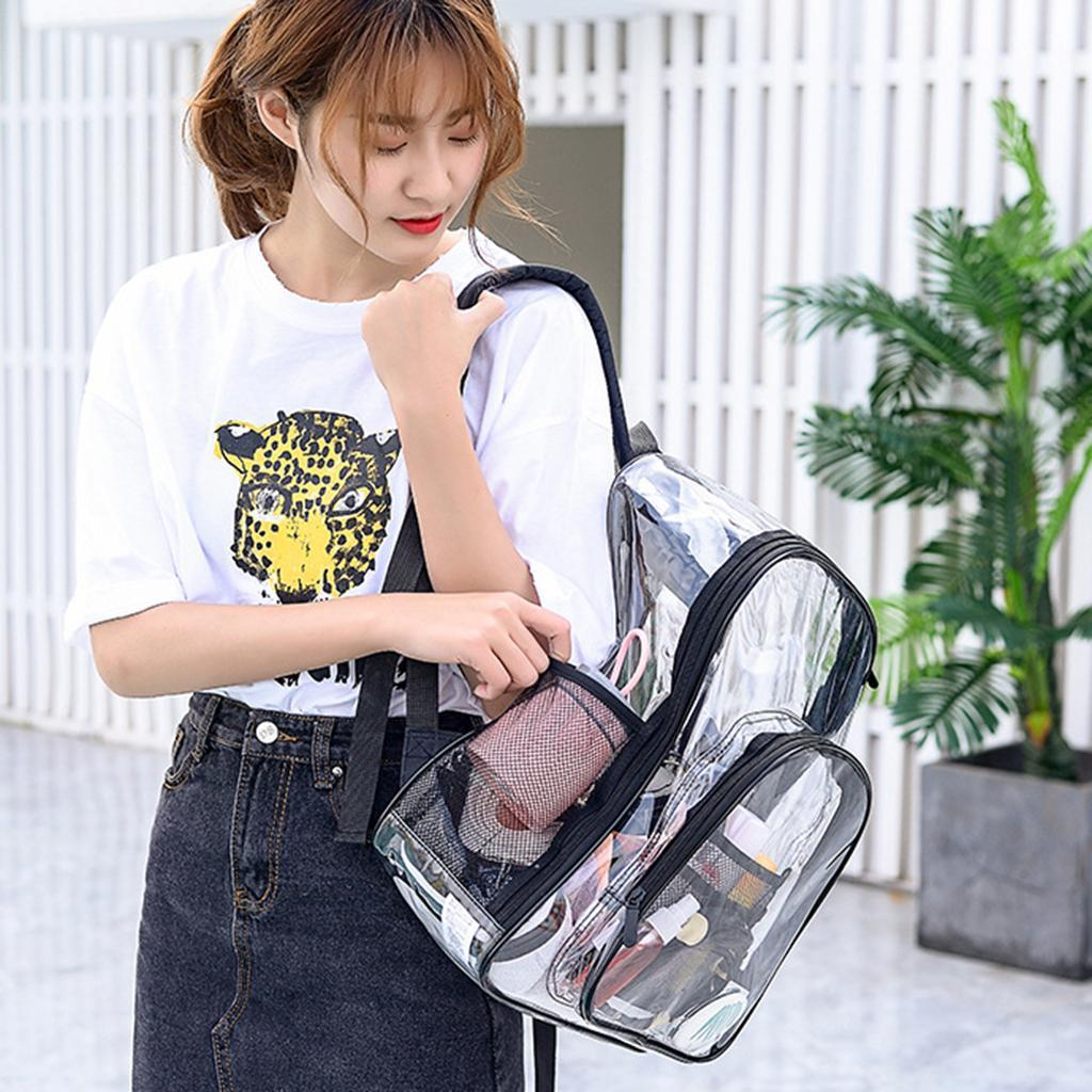 thumbnail 7 - Clear Backpack Transparent See Through School Security Heavy Duty Bookbag