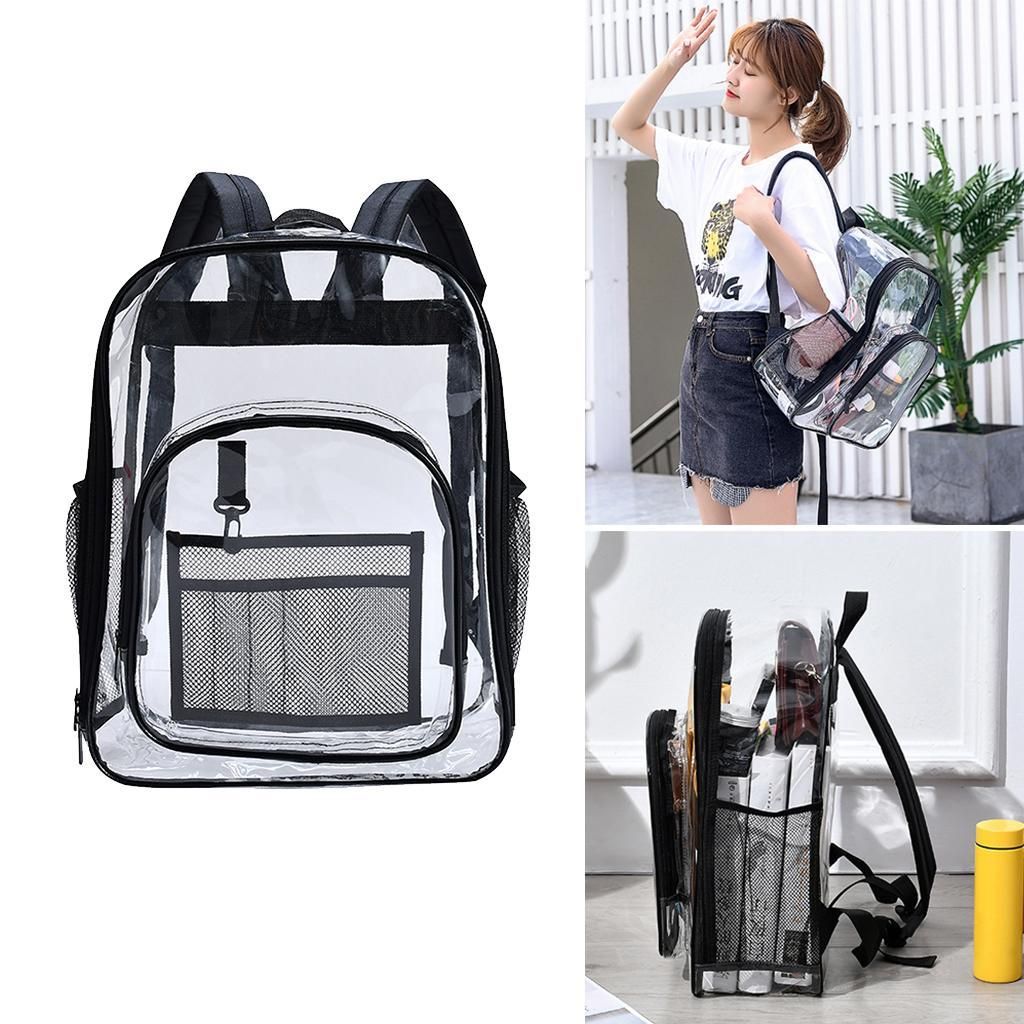 thumbnail 3 - Clear Backpack Transparent See Through School Security Heavy Duty Bookbag