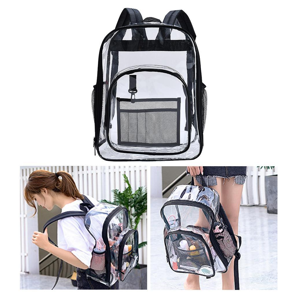 thumbnail 4 - Clear Backpack Transparent See Through School Security Heavy Duty Bookbag