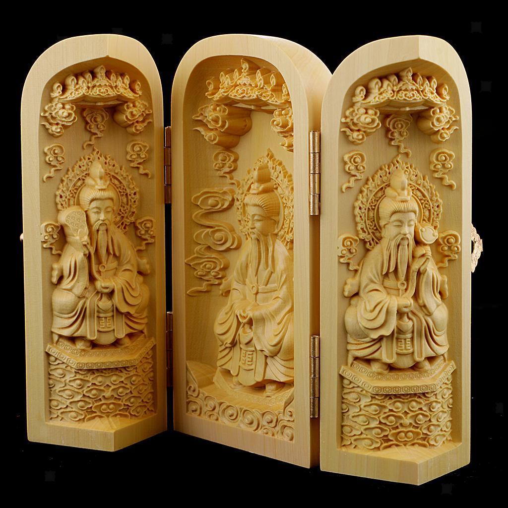 thumbnail 24 - Buddhism Temple Wooden Boxwood 3 Carved Buddha Guanyin Statue Box Set