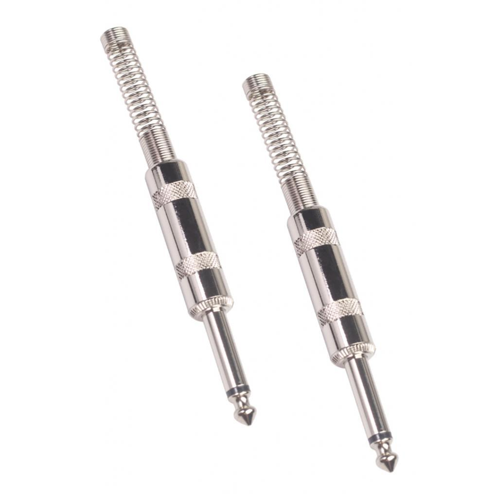 2pcs 6.35mm Male Mono/Stereo Jack Connector Adapter 1/4