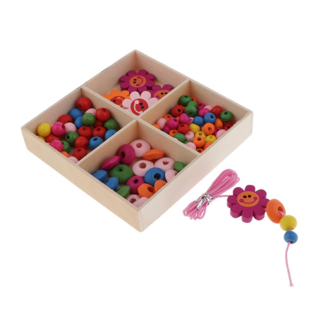 Mixed-Colour-Round-Wooden-Beads-Spacer-Charms-Kids-Bracelets-Crafts-Beading miniature 15