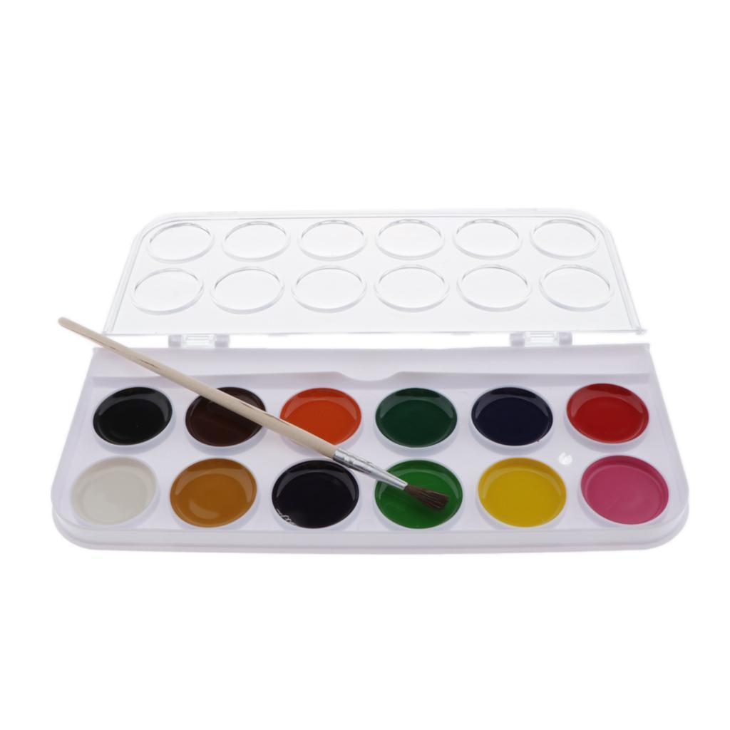 12-16-28-36-Colors-Solid-Watercolor-Paints-With-brush-For-Art-Crafts-Paint thumbnail 7