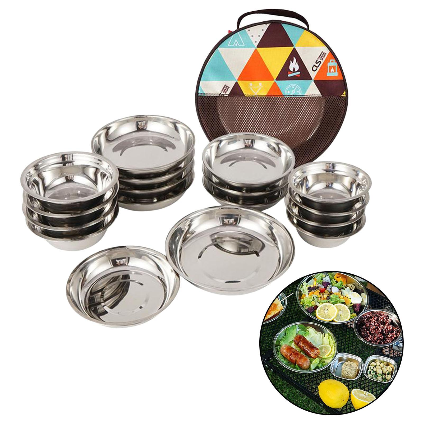 17x Stainless Steel Cooking Dish Plate Bowl Set Camping Outdoor Hiking Travel