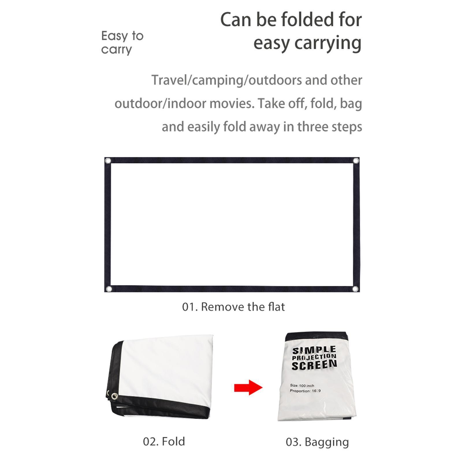 miniatura 3 - Schermo per proiettore portatile HD 16: 9 Proiezione home cinema per esterni