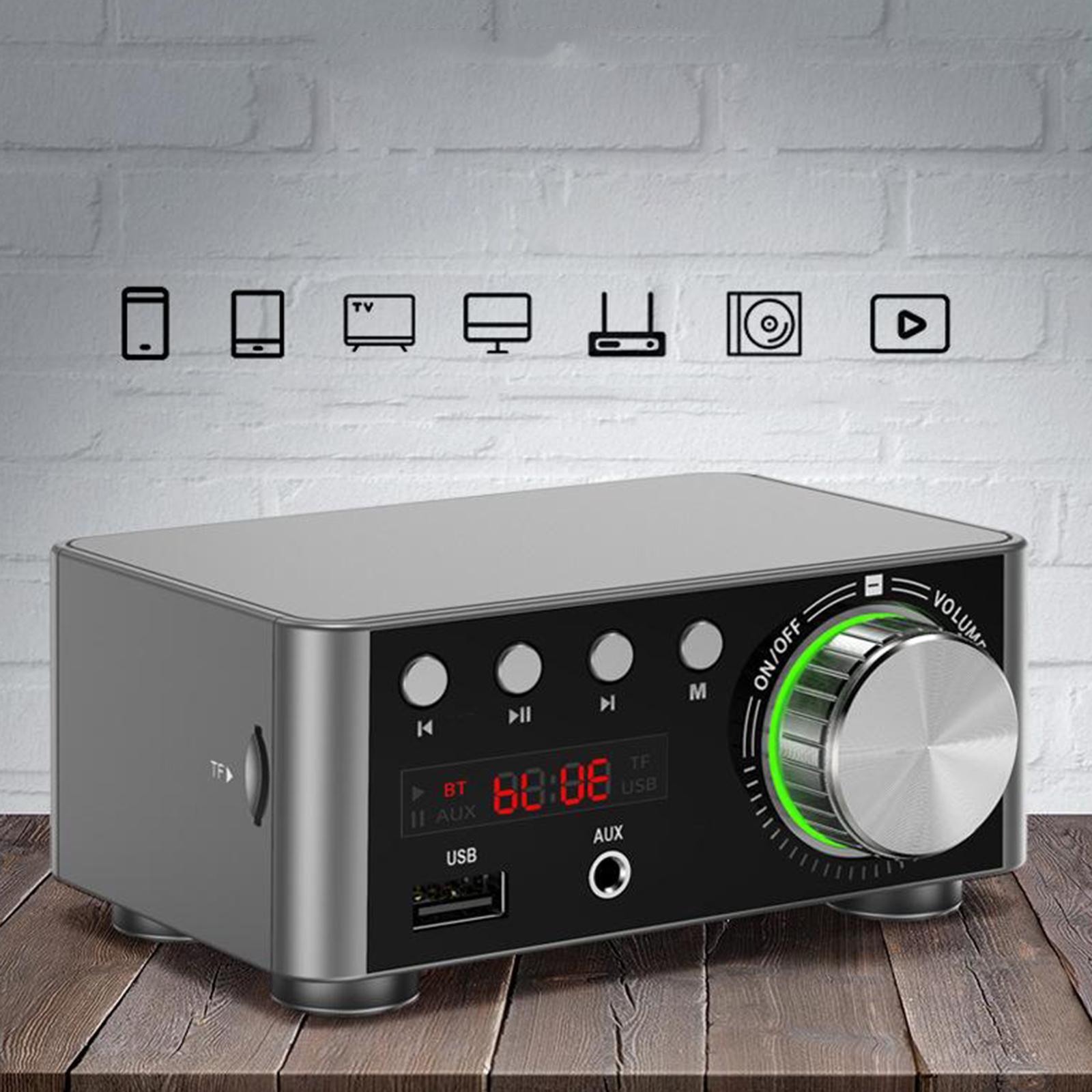 Indexbild 23 - Digitale-100W-Bluetooth-5-0-Power-Verstaerker-Hallo-fi-Stereo-2-0-Kanal-TF