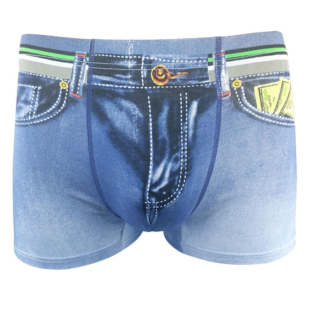 New-Men-Denim-Printing-s-Trunks-Underpants-Briefs-Shorts-Cotton-Underwear thumbnail 16