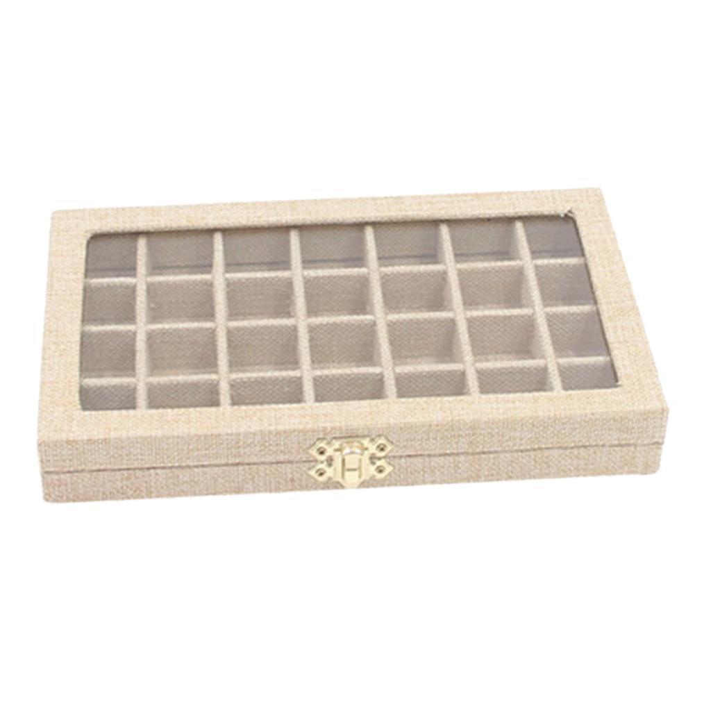 Plateau-a-Bijoux-en-Lin-Organisateur-de-Bijoux-Multifonctionnel-Excellent miniature 4
