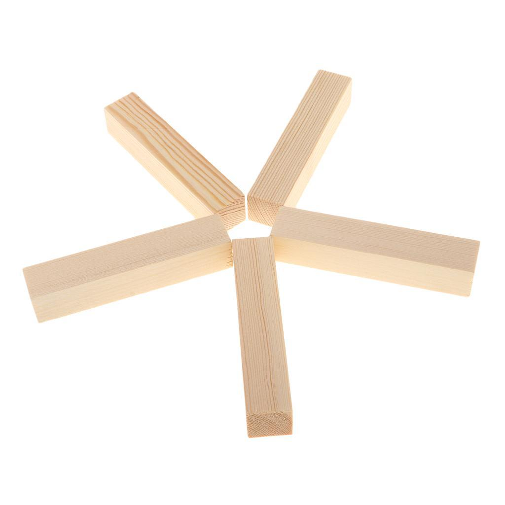 10-5x-Natural-Wood-Stick-Wooden-Block-for-Woodworking-Model-Making-Hobbies-Craft thumbnail 10