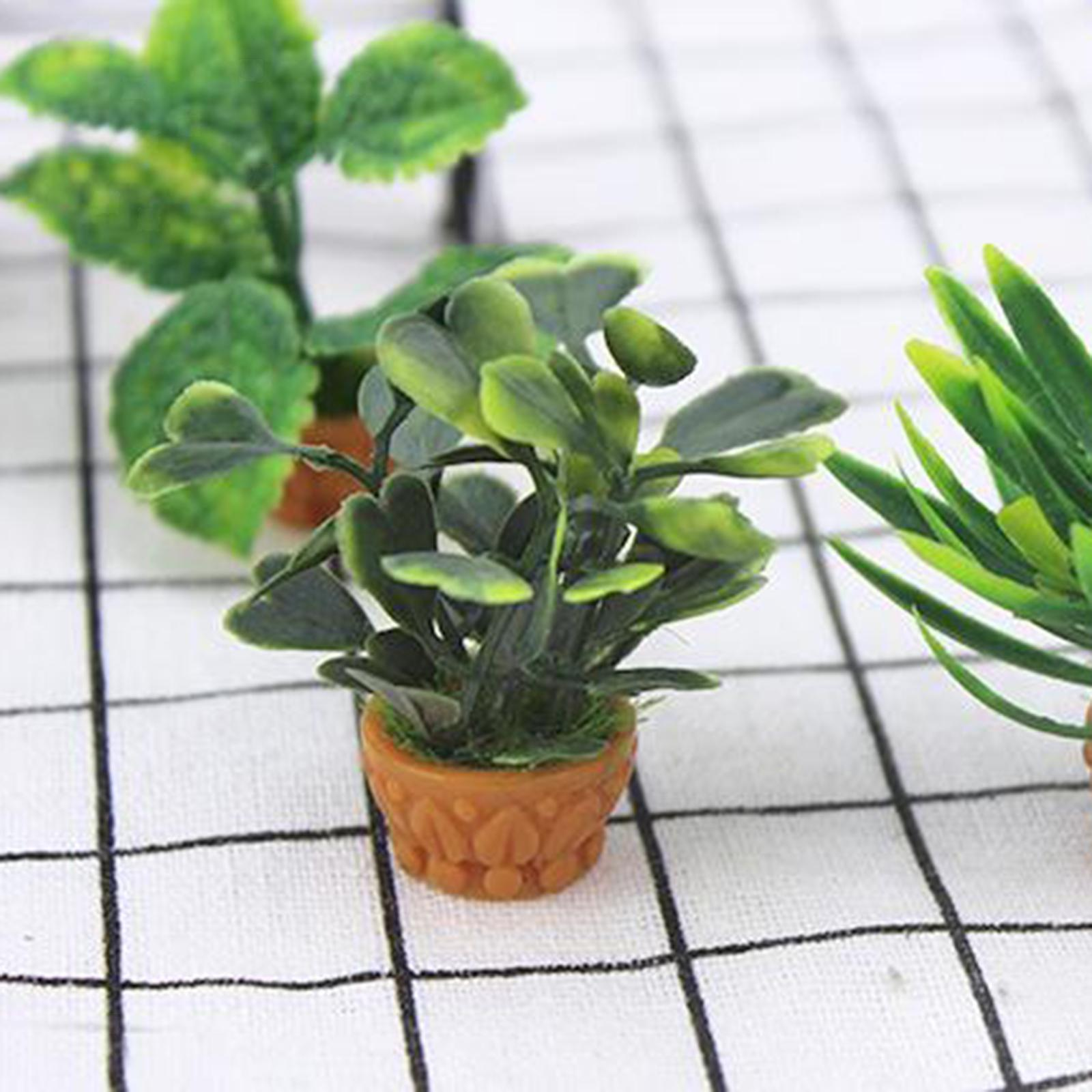 thumbnail 10 - 1-12-Doll-House-Flower-Mini-Beautiful-Green-Plant-DIY-Simulation-Potted-Plants