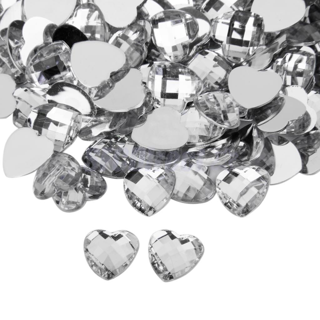 200pcs-12mm-Nail-Art-Heart-Shape-Decors-Flat-Back-Acrylic-Rhinestone thumbnail 15