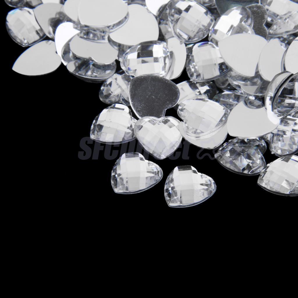 200pcs-12mm-Nail-Art-Heart-Shape-Decors-Flat-Back-Acrylic-Rhinestone thumbnail 14