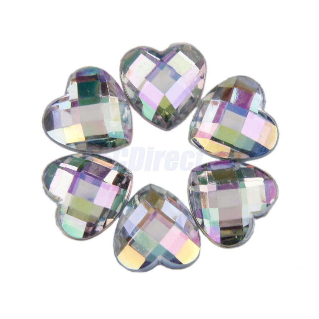 200pcs-12mm-Nail-Art-Heart-Shape-Decors-Flat-Back-Acrylic-Rhinestone thumbnail 25
