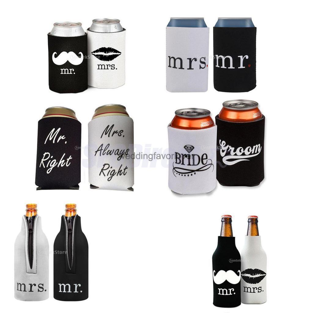 Set 2pcs Beer Bottle Cooler Sleeve Wrap Holder Wedding Favor Bride