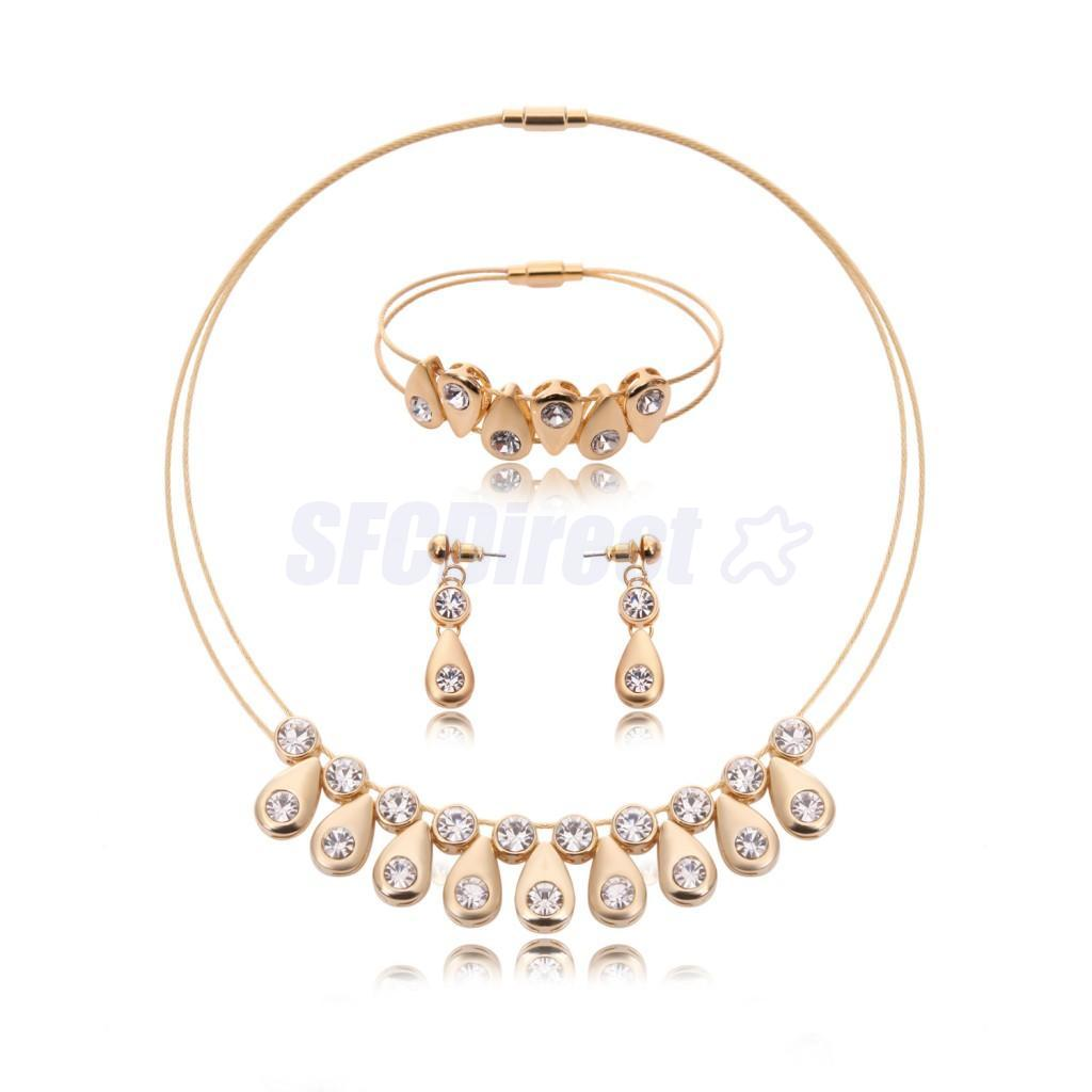 Gold-Plated-Statement-Necklace-Earring-Bracelet-Wedding-Bride-Jewelry-Set thumbnail 3