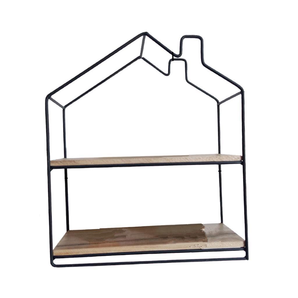 House-Shaped-Iron-Wooden-Wall-Shelf-Display-Rack-Shelf-Storage-Unit-Decor thumbnail 5