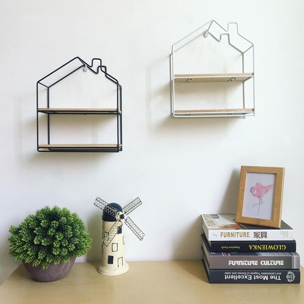 House-Shaped-Iron-Wooden-Wall-Shelf-Display-Rack-Shelf-Storage-Unit-Decor thumbnail 6