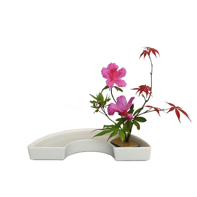 1-Pair-Japanese-Ikebana-Vase-Half-moon-Shaped-Art-Cut-Flower-Arranging-Tray thumbnail 6