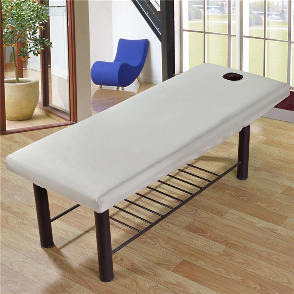 10PC Universal Massage Table Beauty Bed Covers with Face Hole 190x80cm White