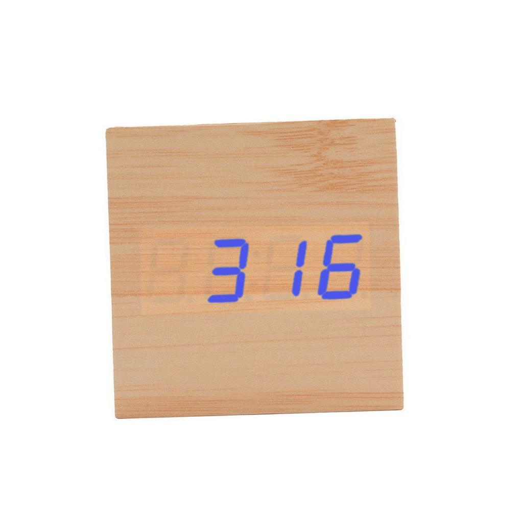 Clocks Electronic Digital Wood LED Alarm Clock Sounds Control Temperature Desk CPJJ