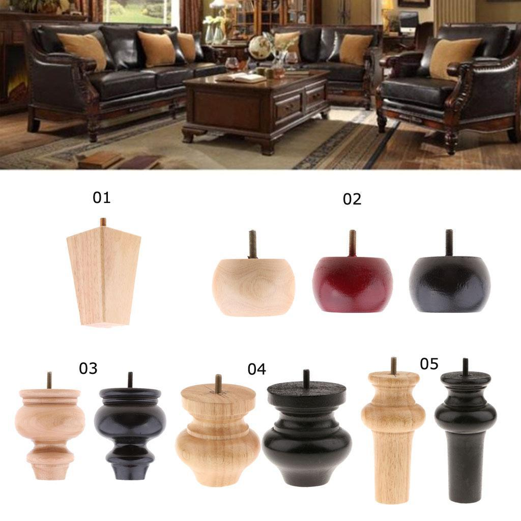4 Pieces Solid Wooden Furniture Legs Extenders For Sofa Couch Chair