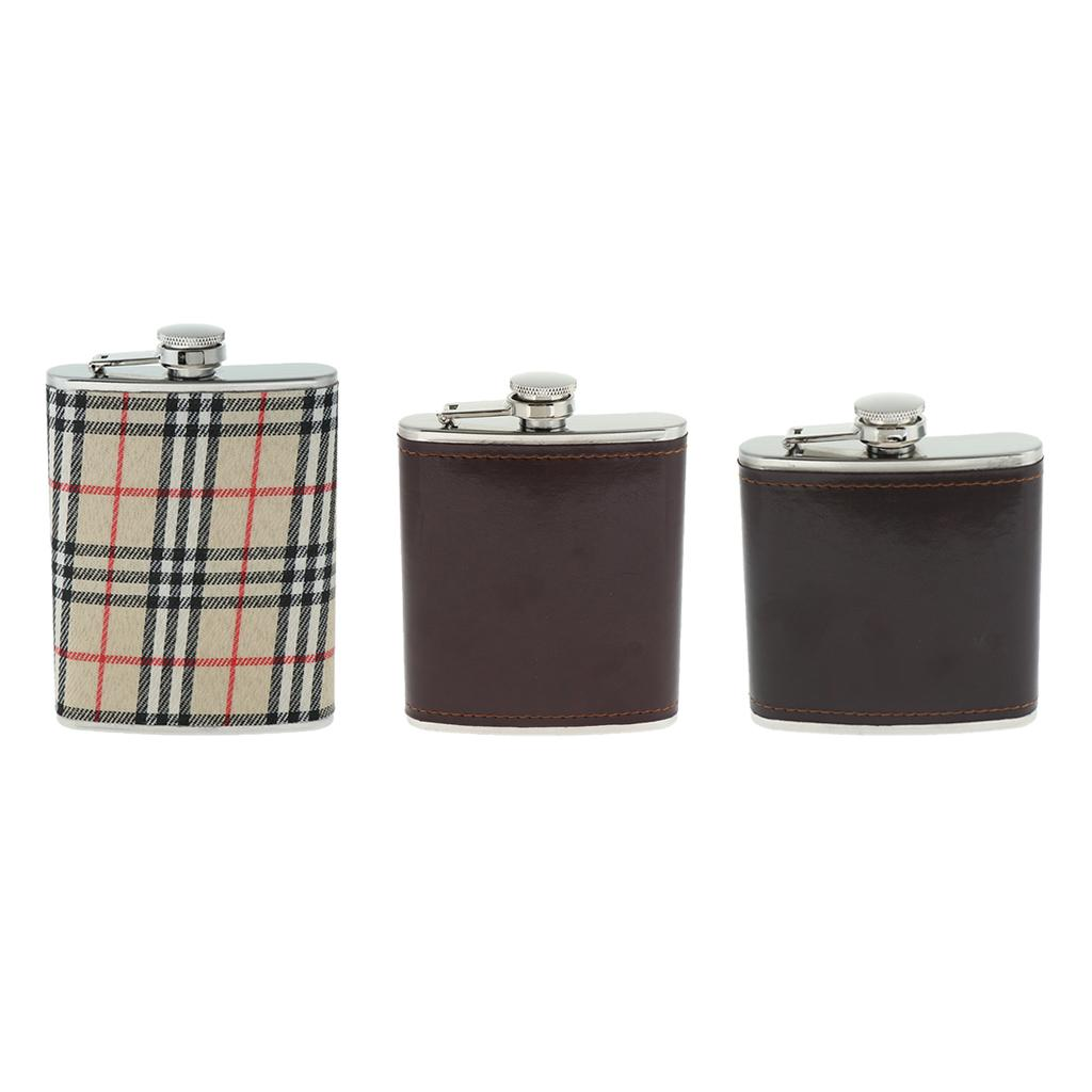 Sturdy-Stainless-Steel-Leak-Proof-Liquor-Wine-Hip-Flask-with-Leather-Shell thumbnail 4