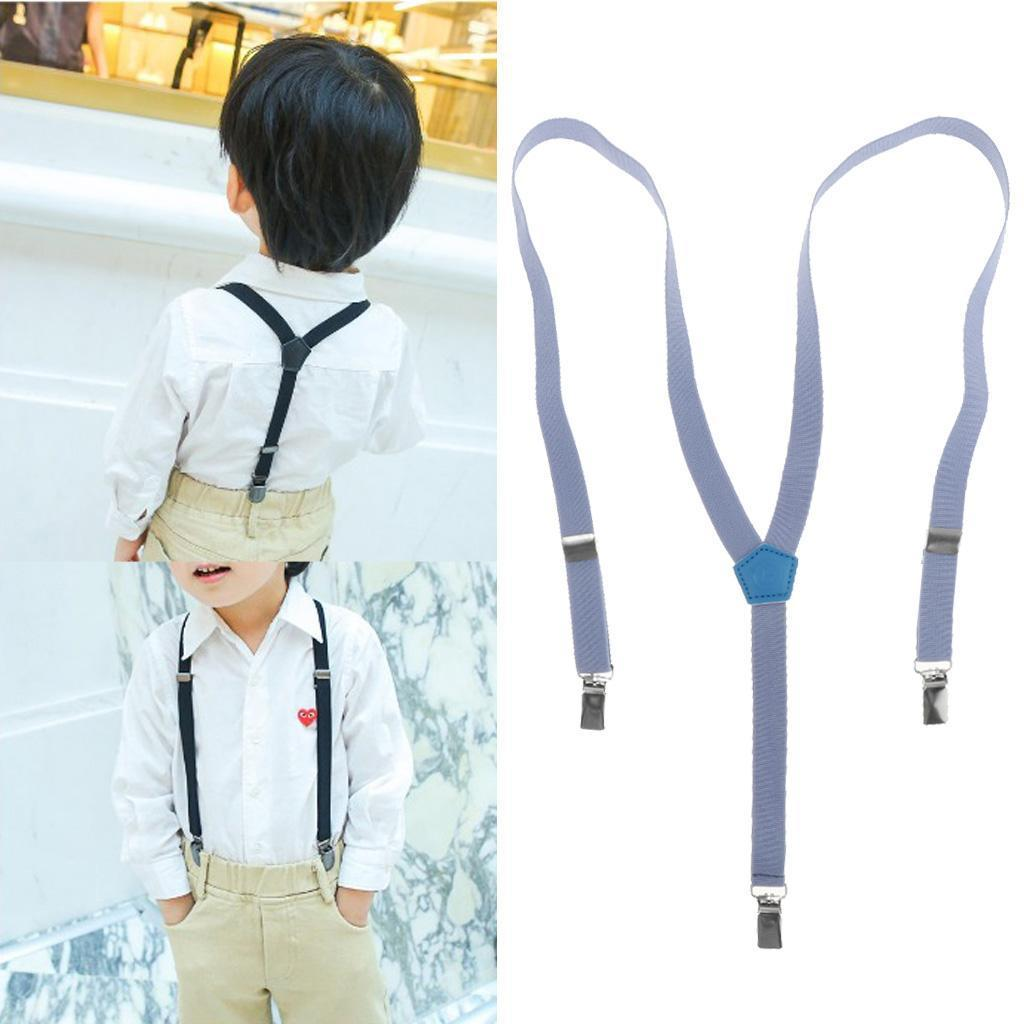 New Children Kids Boys Girls Solid Color Clip-on Suspenders Elastic Adjustable B