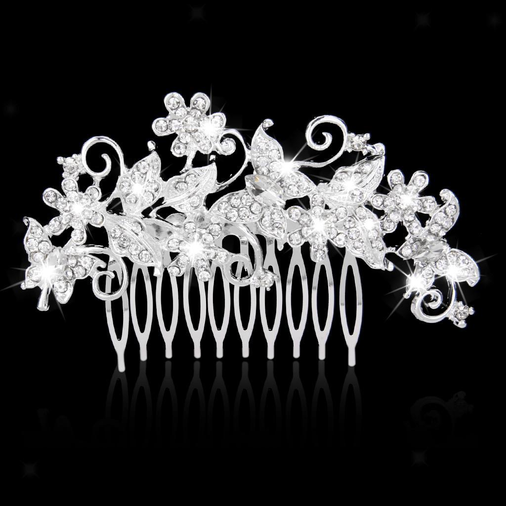 Wedding-Party-Flower-Crystal-Rhinestone-Bridal-Hair-Comb-Clip-Hair-Accessory thumbnail 9